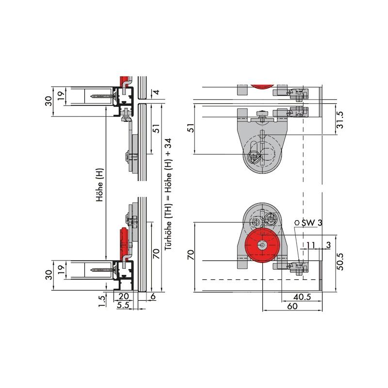 Schiebetürbeschlag-Set redoslide MR25-GKV - 5