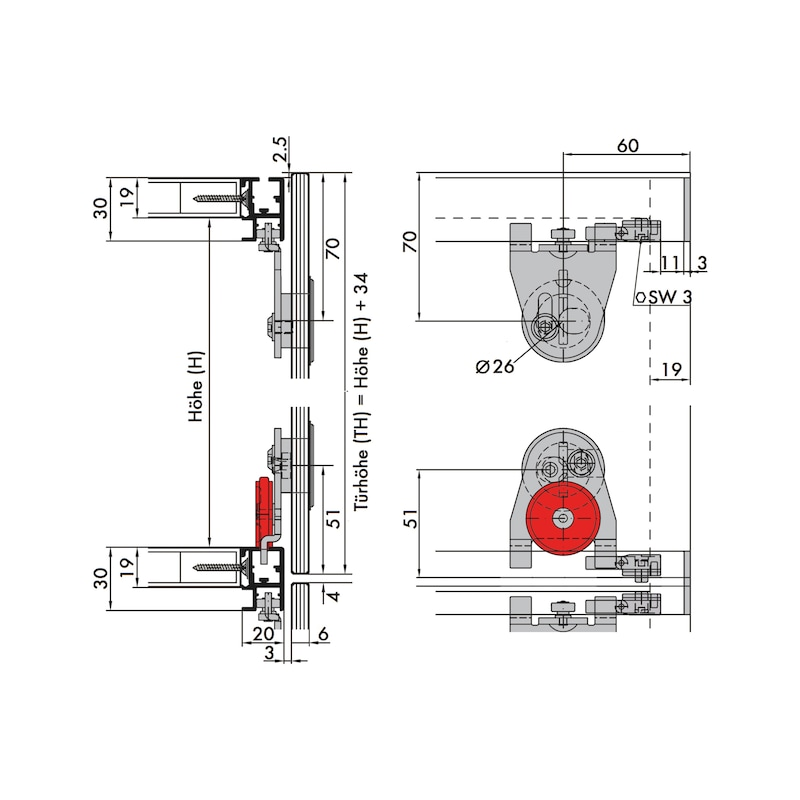 Schiebetürbeschlag-Set redoslide MR25-GKV - 6
