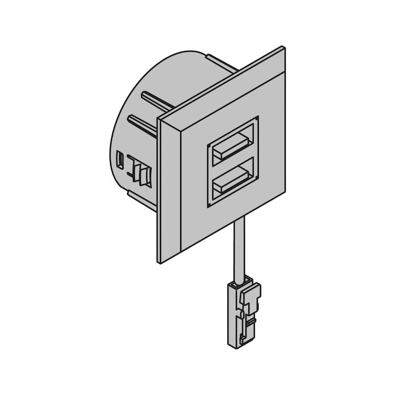 USB-Doppelsteckdose 12V aus Kunststoff im rechteckigen Design - 2