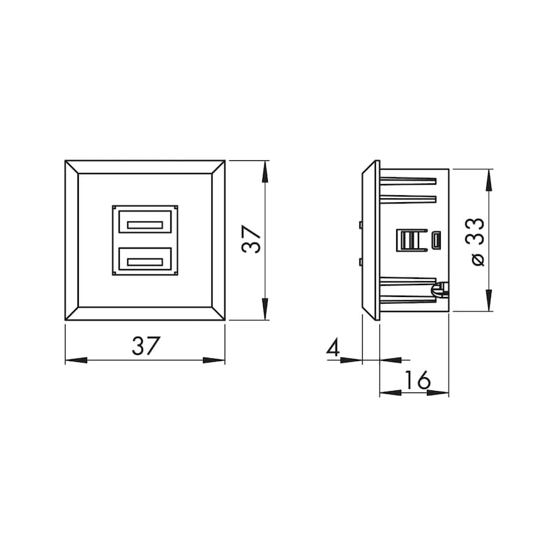 USB-Doppelsteckdose 12V aus Kunststoff im rechteckigen Design - 3