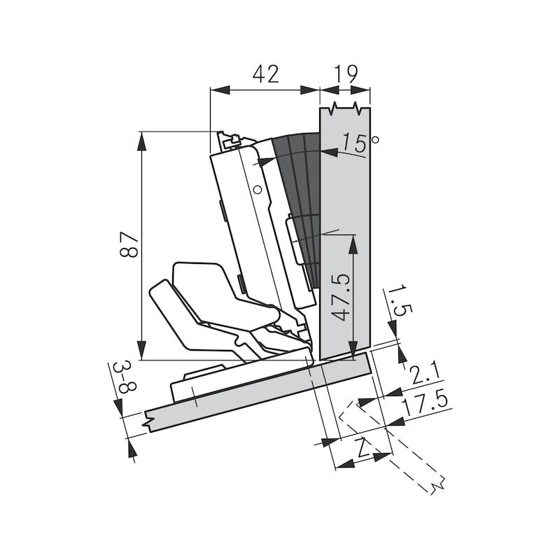 Spiegel- und Glastürscharnier TIOMOS Mirro 125 - 10