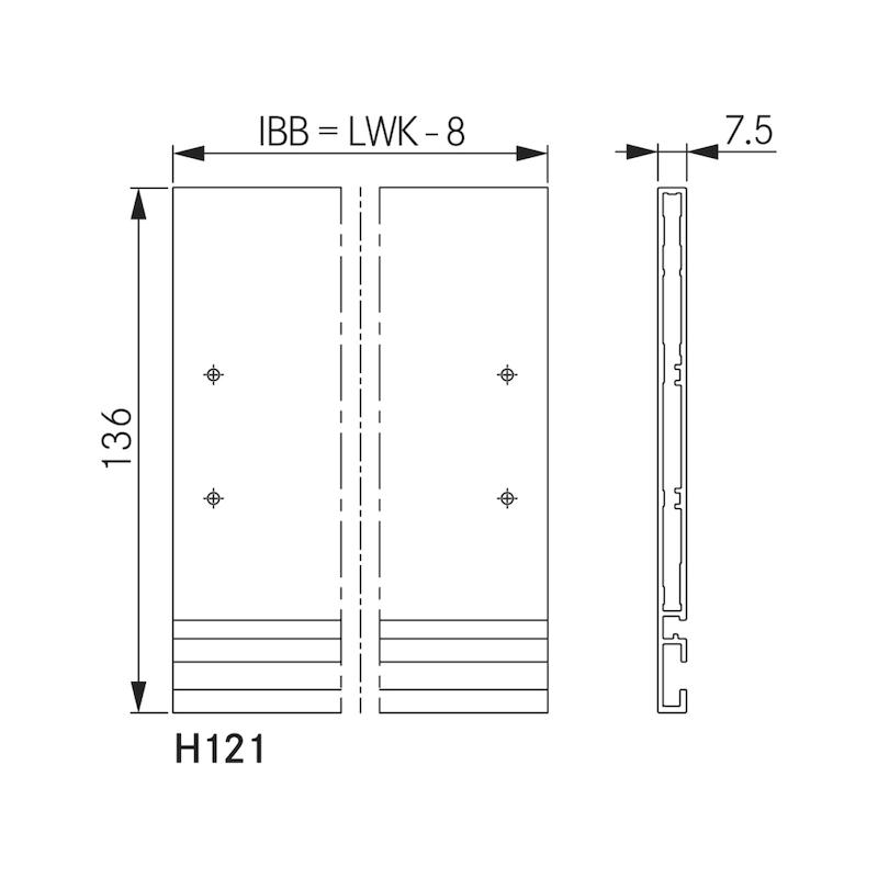 Innenblende für Zargensystem Vionaro - ZB-FRONTBLND-VION-SILBRGRAU-H121