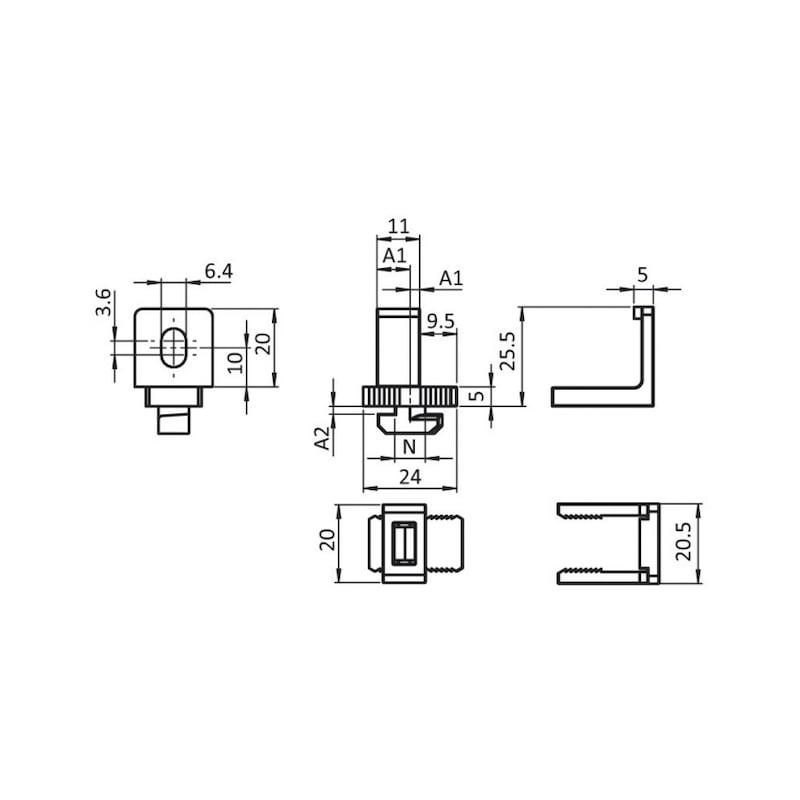 Varioklemmblock Kunststoff - KLEMM-BLOCK-VAR-PA-NUT8-M6-0-13MM