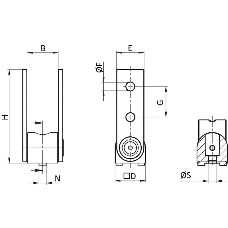 Gelenk - GELENKVERB-AL-180°-NUT8/10-37X121X40MM
