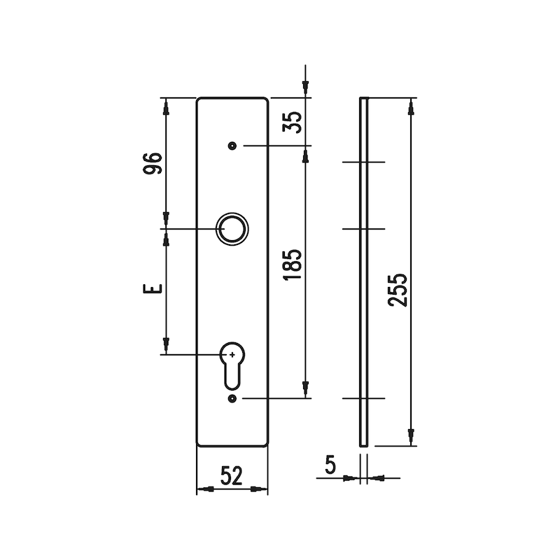 Aluminium-Schutzbeschlag S 33 - SBS-ALU-S33-ES1-WE-PZ-72-14-F1/SILBER
