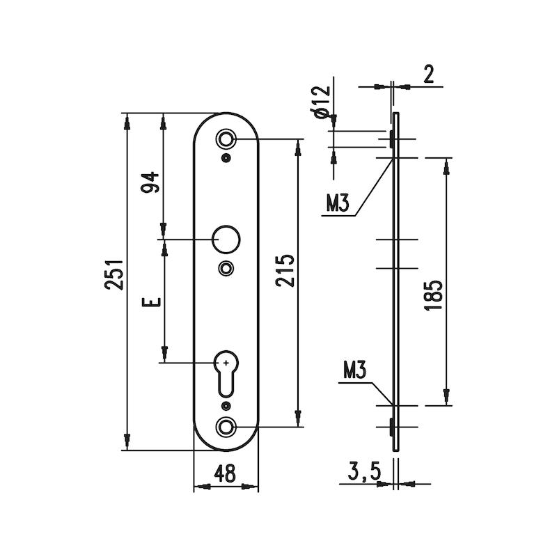 Aluminium-Schutzbeschlag S 33 - SBS-ALU-S33-ES1-WE-ZA-92-14-F1/SILBER