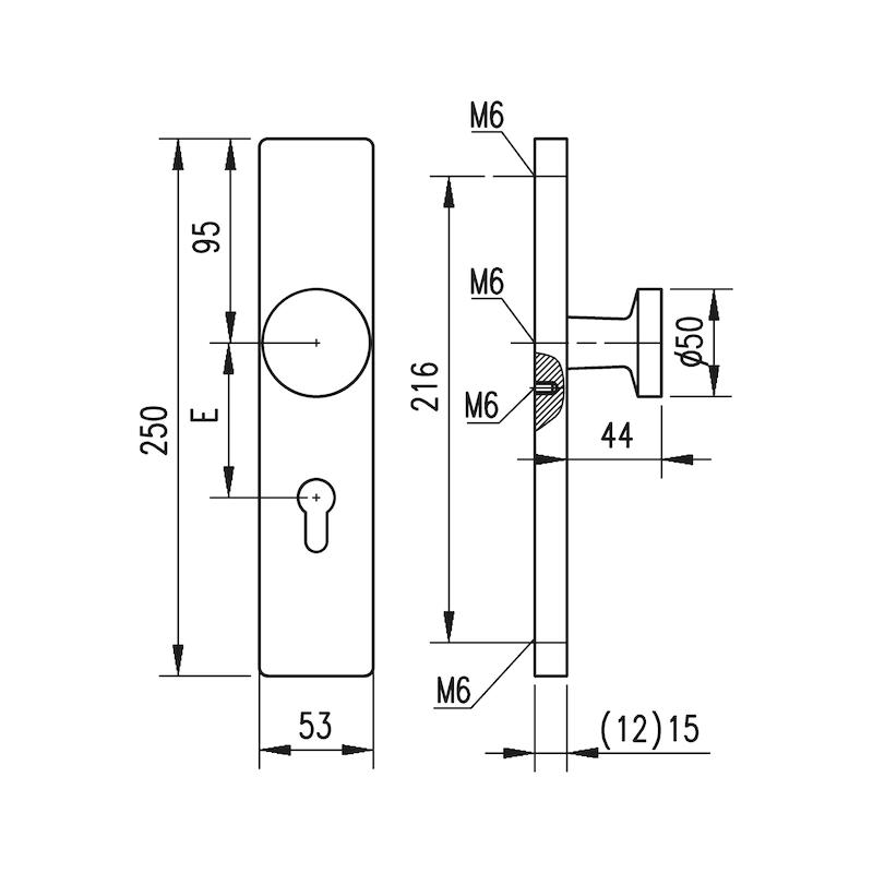 Aluminium-Schutzbeschlag S 31 - SBS-ALU-S31-WE-PZ-72-15-F1/SILBER