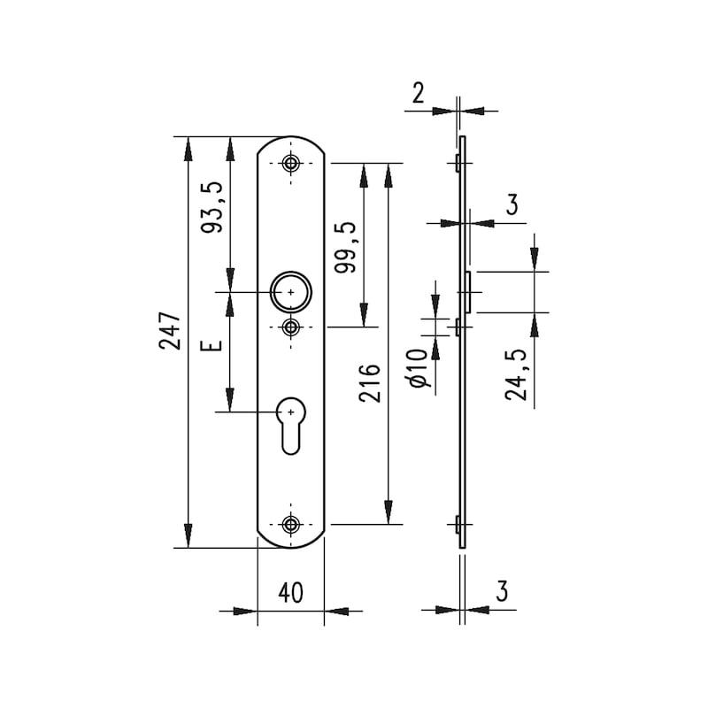 Aluminium-Schutzbeschlag S 31 - SBS-ALU-S31-WE-PZ-72-12-F2/NEUSILBER