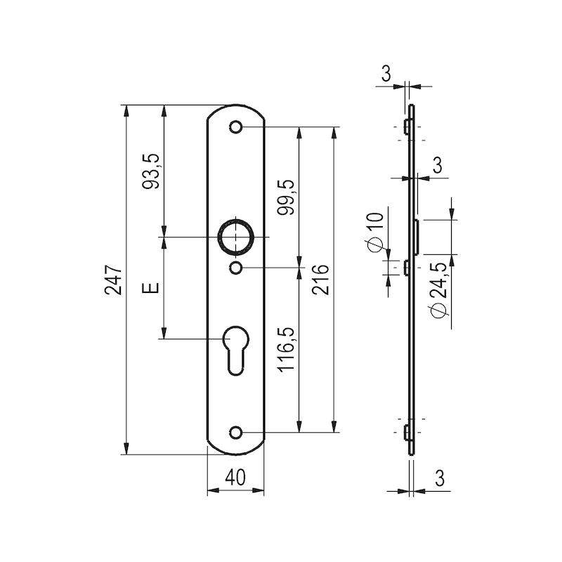 Aluminium-Schutzbeschlag S 45 - 3