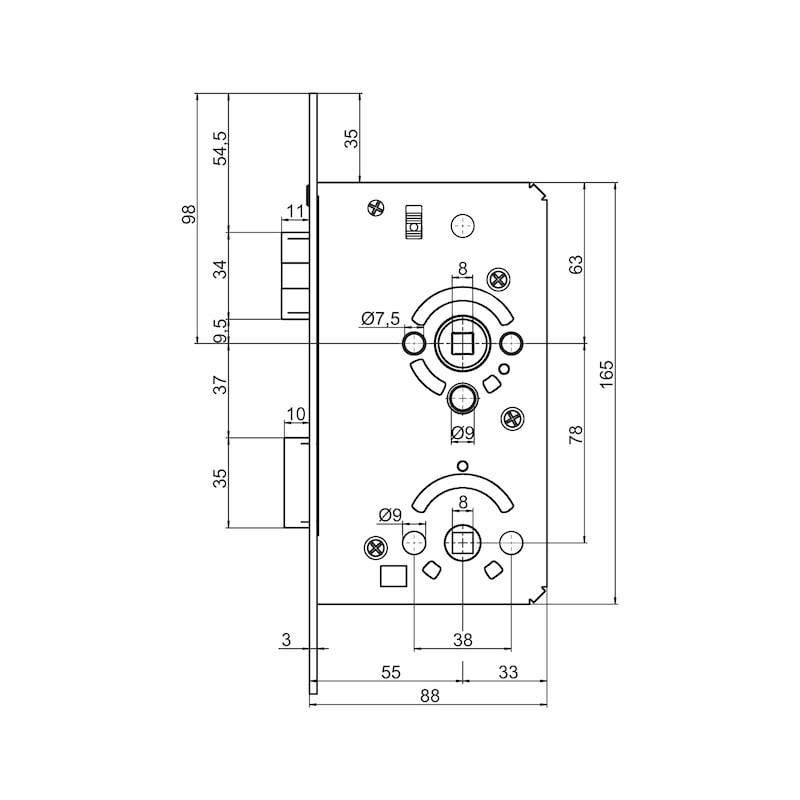 WC/ Bad-Objekttür-Einsteckschloss Klasse 3 - 2
