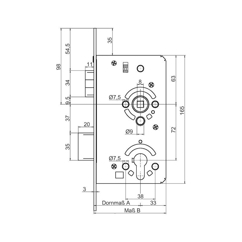 Objekttür-Einsteckschloss PZ Klasse 4 - EINSTESHLO-KL4-PZ-DIN/R-A2-FF-60-20MM