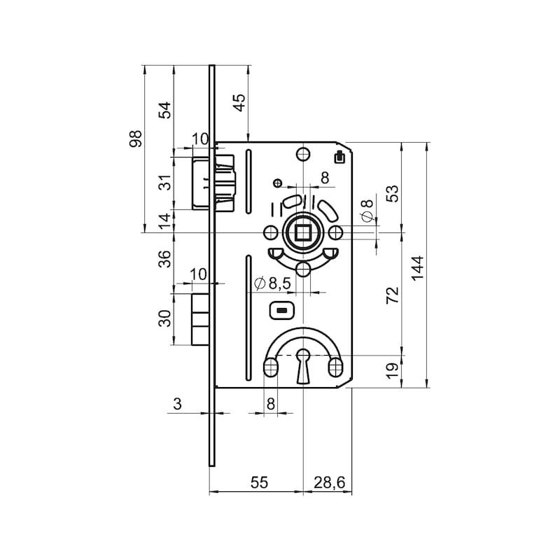 Zimmertür-Einsteckschloss BB Klasse 1 - EINSTESHLO-KL1-BB-DIN/R-LIMBA-BRAUN-20MM