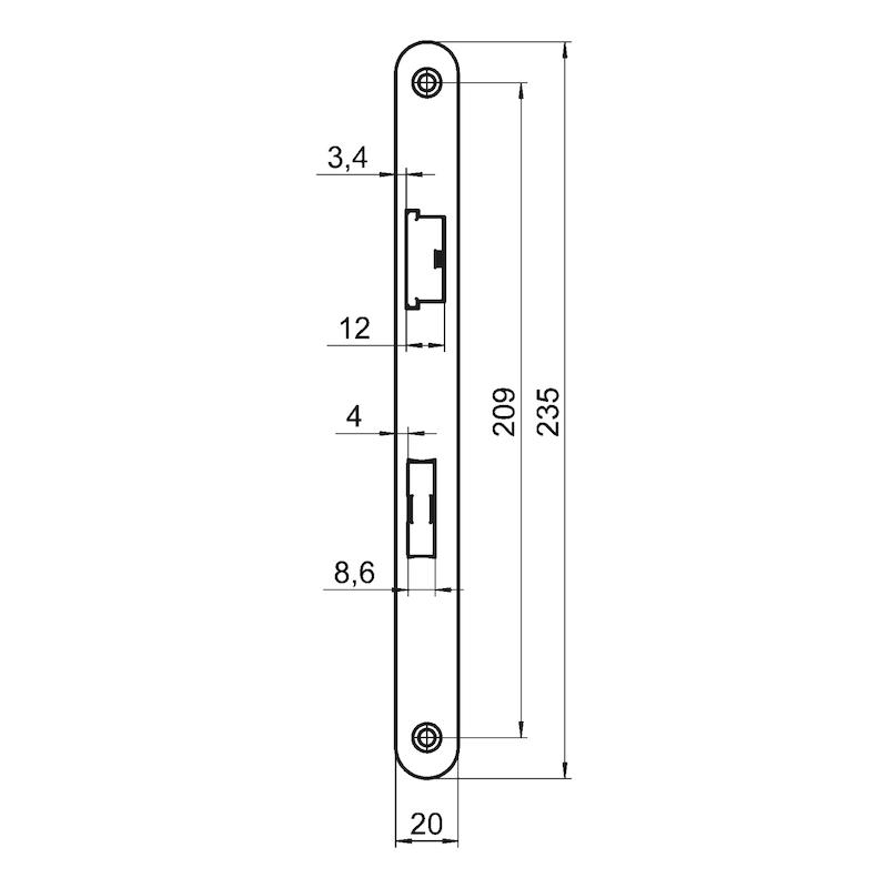 Zimmertür-Einsteckschloss BB Klasse 1 - EINSTESHLO-KL1-BB-DIN/L-SILBER-GRAU-20MM