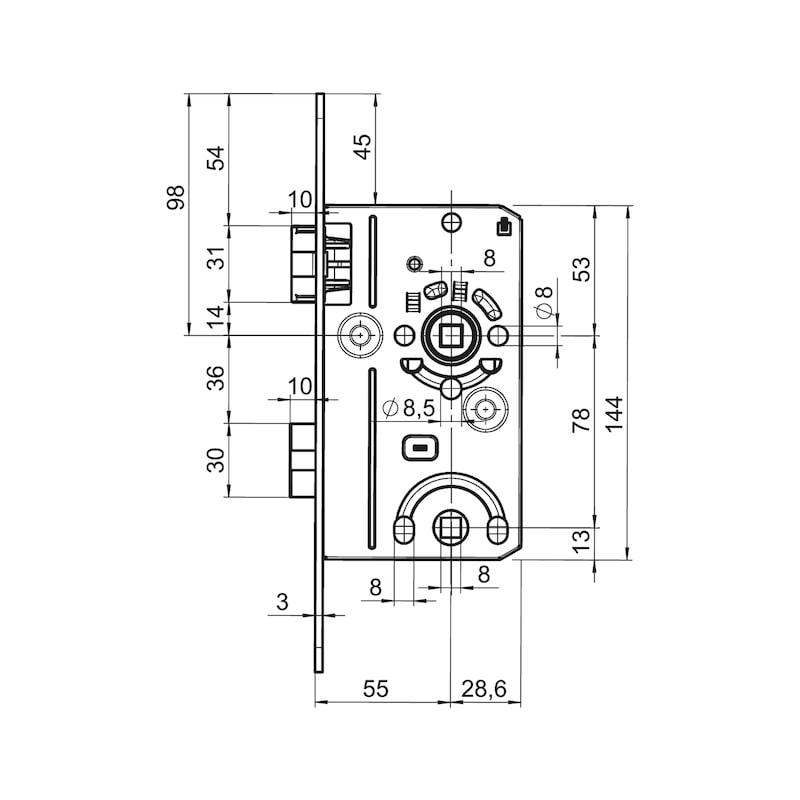 WC/ Badtür-Einsteckschloss Klasse 2 - 2