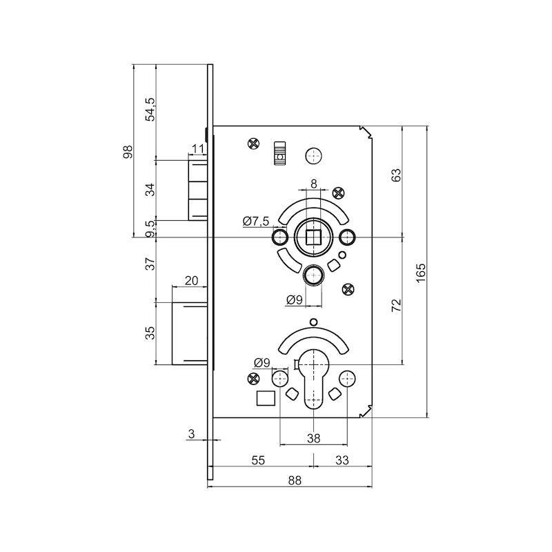 Objekttür-Einsteckschloss Klasse 3 - EINSTESHLO-KL3-PZ-DIN/R-A2-FF-55-20