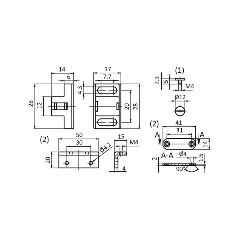 Magnetverschluss Set - MAGNETVERSCHLUSS-SET-ST-SCHW-28X17X14MM