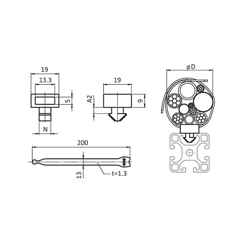 Kabelbinderblock - 2