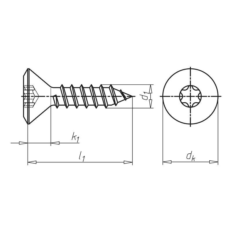 Linsensenk-Blechschraube Form C mit AW-Antrieb Gleitbeschichtet - 2