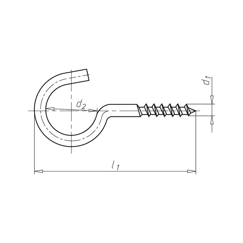 Schraubhaken gebogen - SHRHAK-GBGN-HO-(A2K)-D3,3-30X10