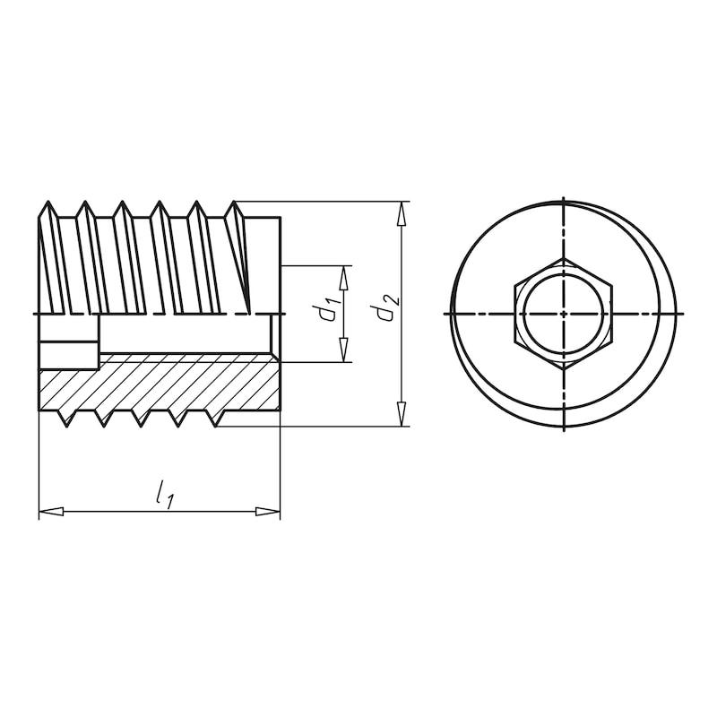 Insert bois à visser 6 pans A fente - INSERT-BOIS-TYP/SK-18,5X20-M10