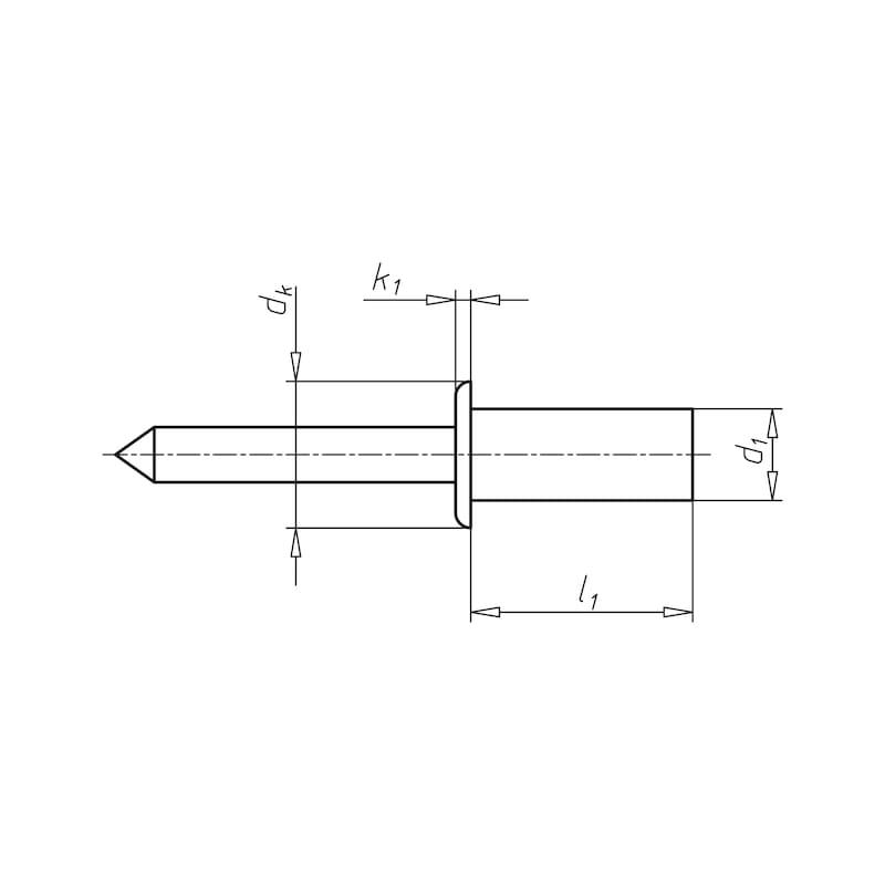Becher-Blindniete Flachrundkopf  - NT-ISO15976-ST/ST-(5,0-6,5)-4,8X12,0