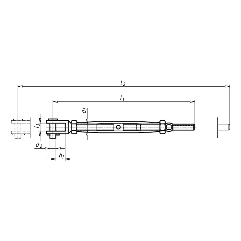 Tenditore forcella acciaio inox A4/terminale fune - 2