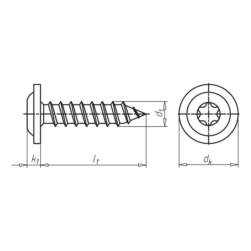 Linsenkopf-Fensterbankschraube mit Flansch - 2
