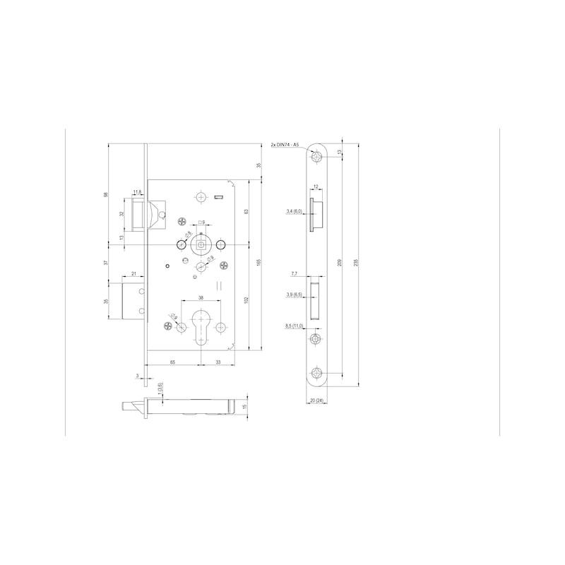 Panik-Einsteckschloss FH 61 - 2