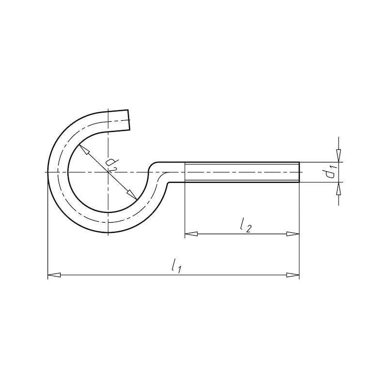 Schraubhaken ohne Bund - HAK-SHR-(A2K)-M6X60