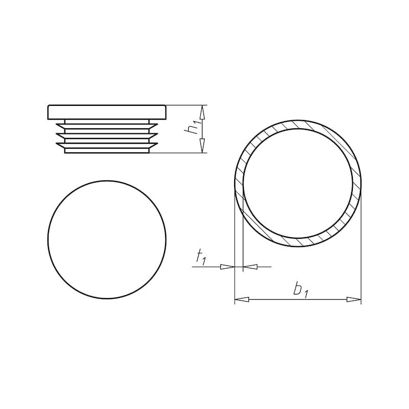 Zaślepka końcowa z tworzywa sztucznego, okrągła - ECAP-PLA-PIP-BLACK-25X2