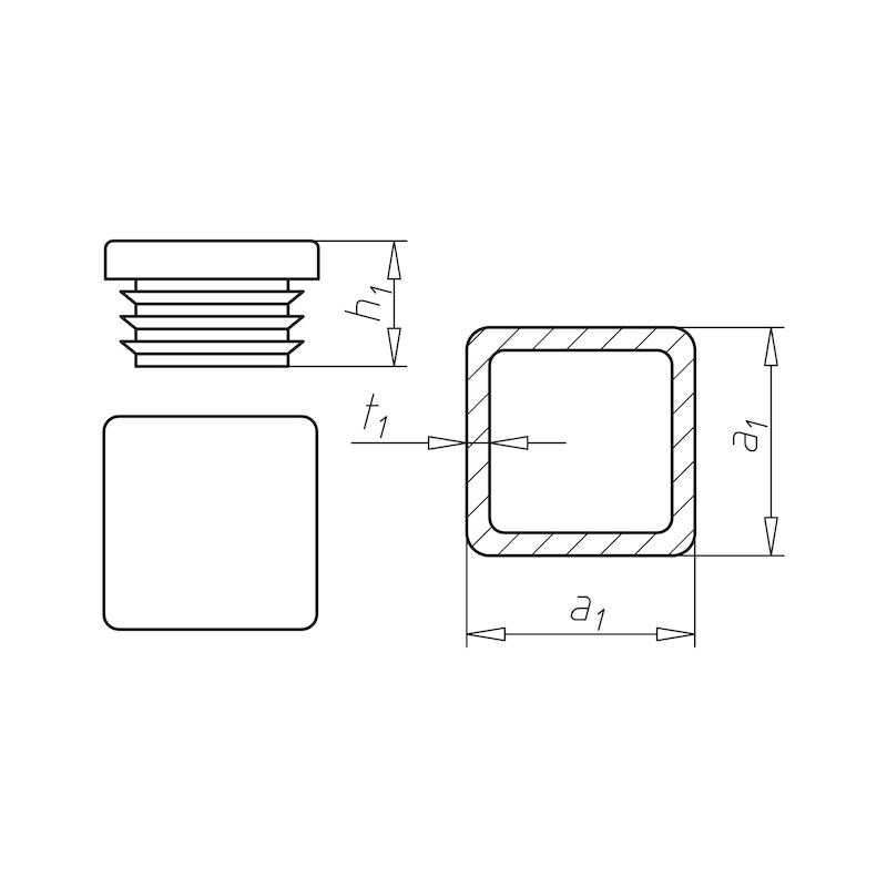 Kunststoff-Endkappe, quadratisch - 2
