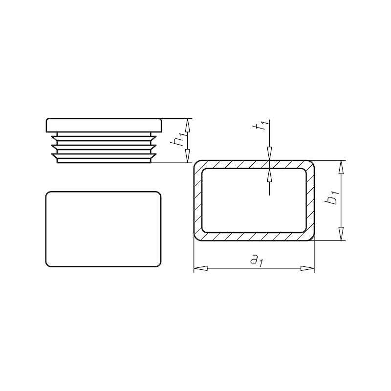 Kunststoff-Endkappe, rechteckig - 0