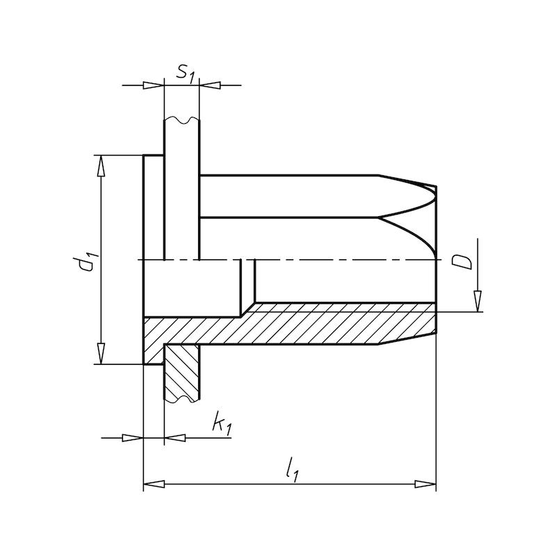リベットナット、丸なべ頭および六角シャンク付き - ナットサート替玉M5 六角