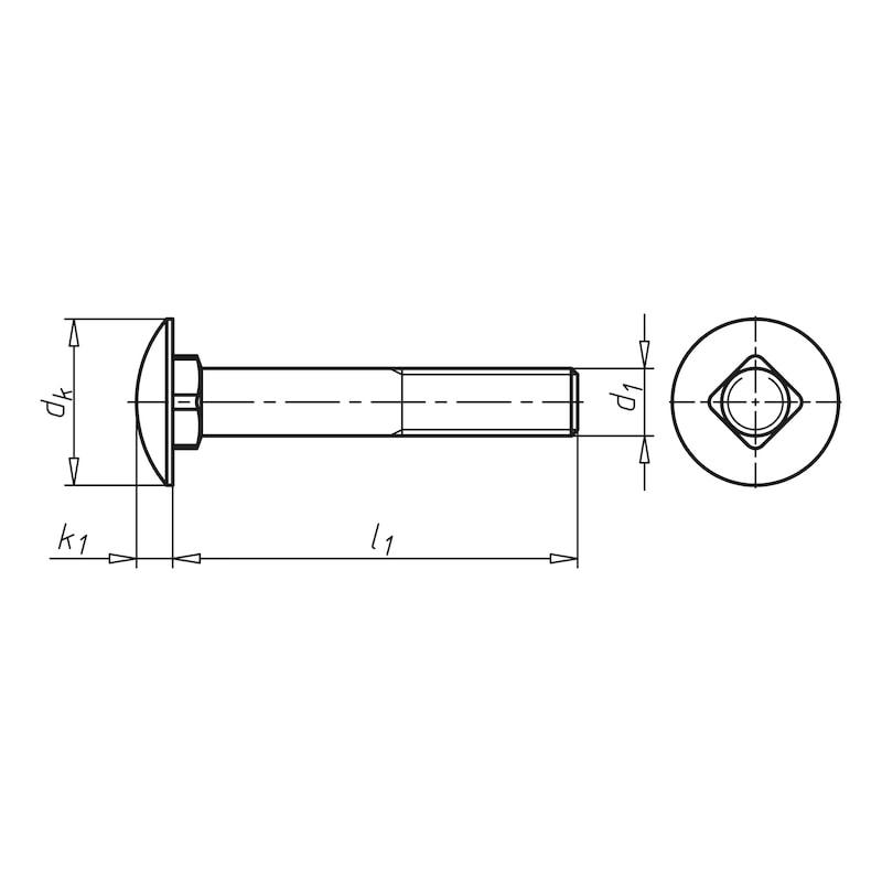 Flachrundschraube mit Vierkantansatz und Mutter - 2