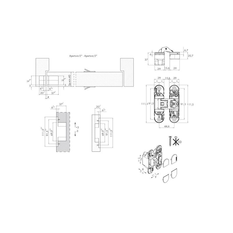 Cerniera invisibile regolabile 3D SPIRIT 80 - 2