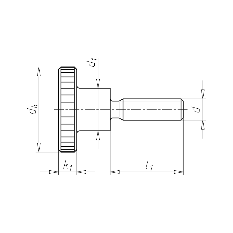Винт с накатанной головкой, увеличенной высоты - ВИНТ-DIN464-A2-M6X30