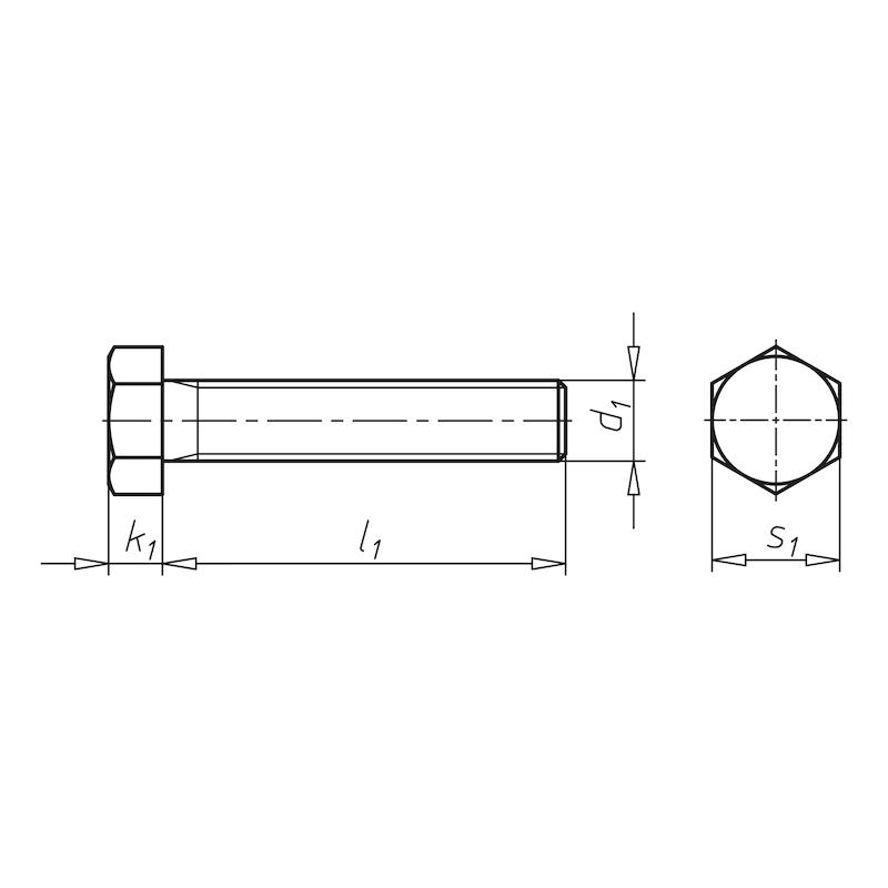 ヘッドまでのネジきり付き六角ボルト - 六角スクリュー ユニクロ 8×20MM