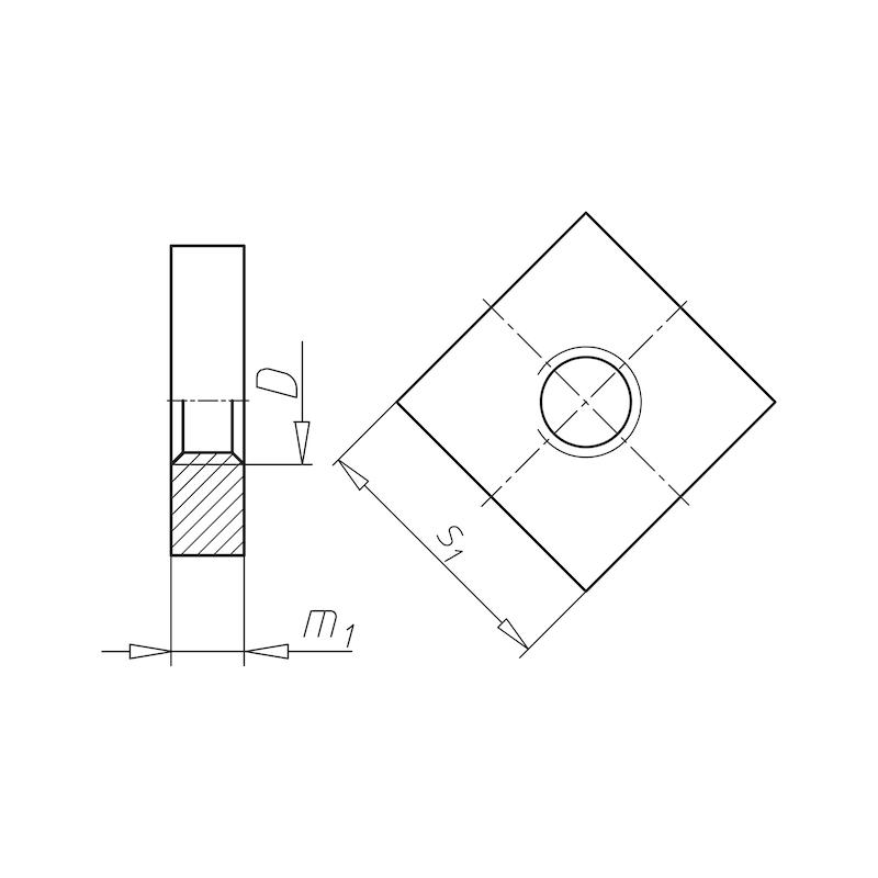 Vierkantmutter niedrige Form - MU-4KT-DIN562-04-SW7-M4