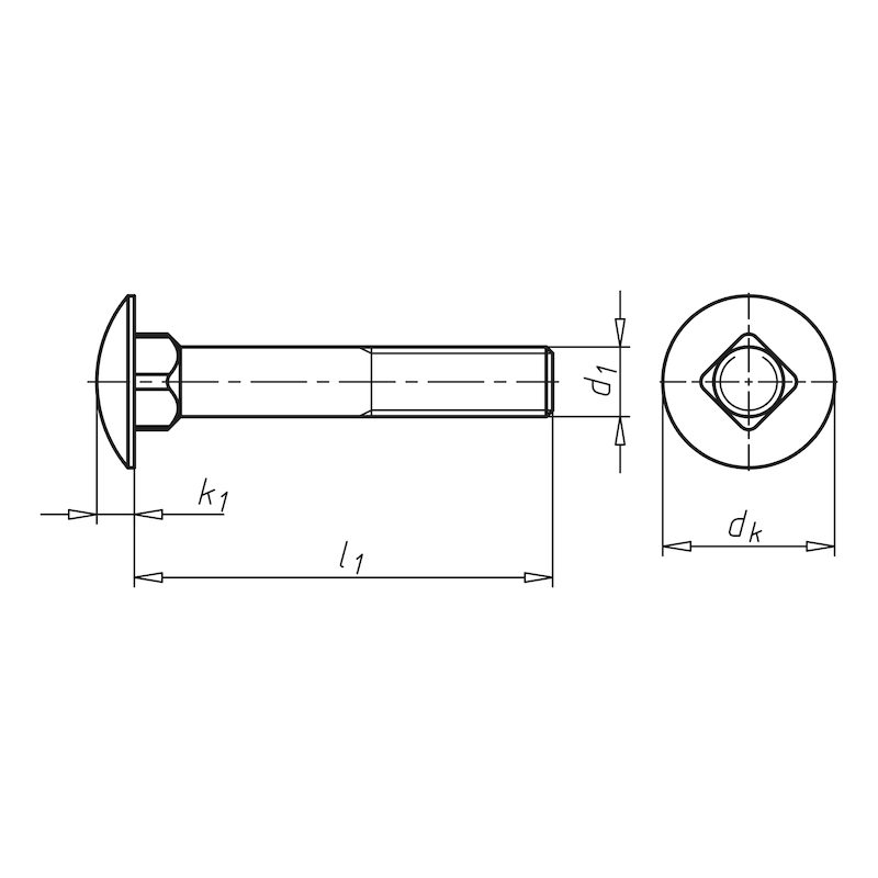 Flachrundschraube mit Vierkantansatz - 2