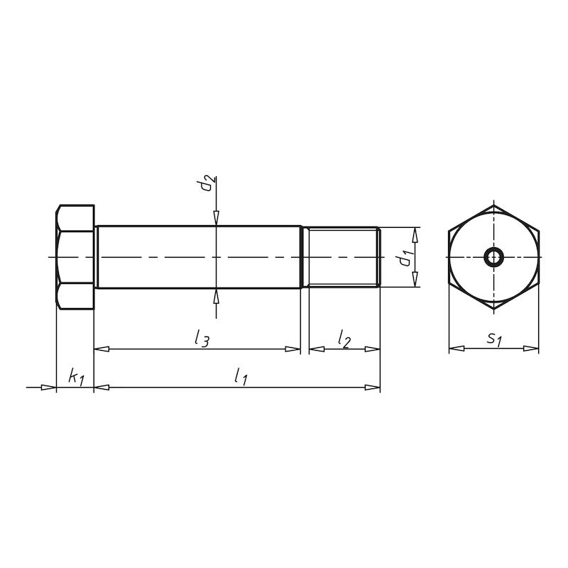 Винт с утолщенным стержнем с шестигранной головкой и короткой резьбовой цапфой - БОЛТ-ШГ-DIN610-8.8-WS13-M8-K6X25