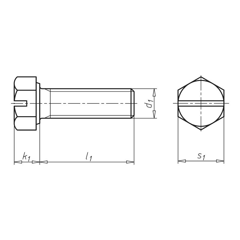 Sechskantschraube mit Gewinde bis Kopf und Schlitz - SHR-DIN933-8.8-SZ-(A2K)-6X25