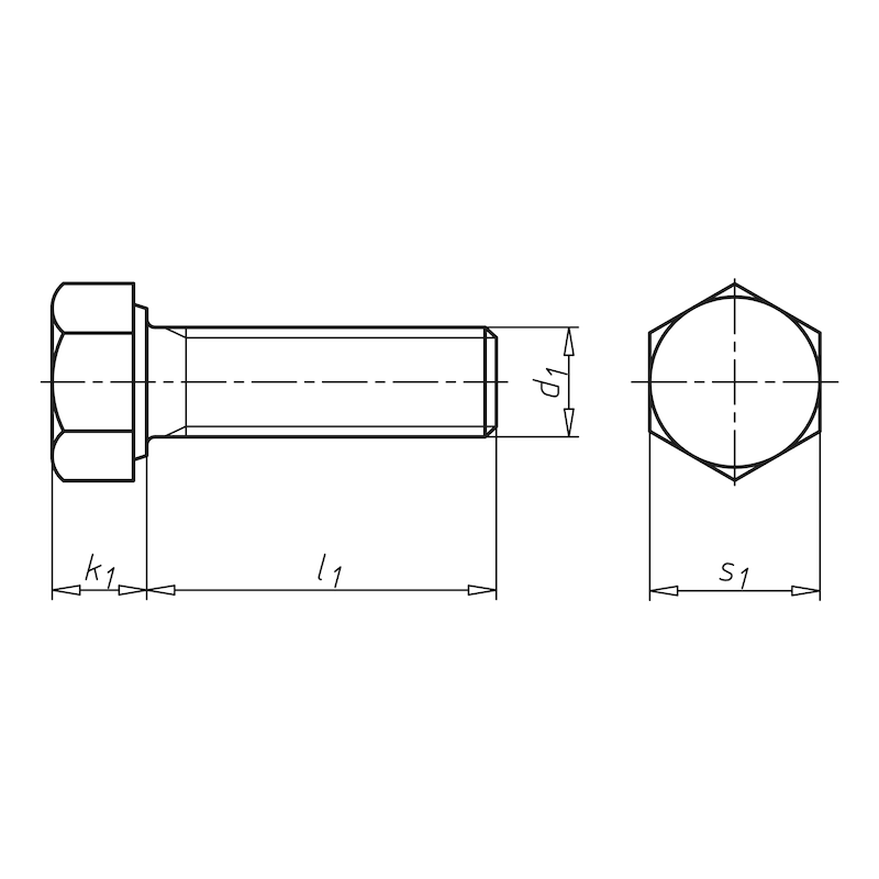 Hexagonal bolt, with thread to head and fine thread - SCR-HEX-DIN961-10.9-WS17-M10X1,25X30