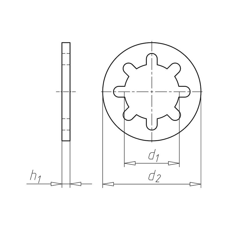 Zahnscheibe innengezahnt Form J - SHB-ZAHN-DIN6797-JZ-(A2K)-D3,5