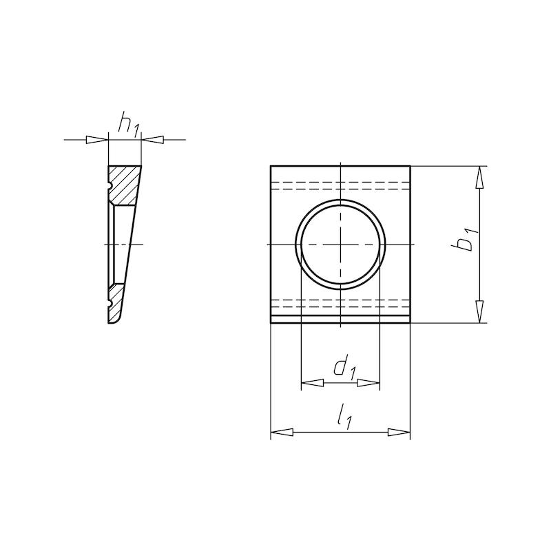Scheibe, vierkant, keilförmig für HV-Schraube an U-Profil - SHB-HV-DIN6918-(U-PRFL)-(TZN)-D25