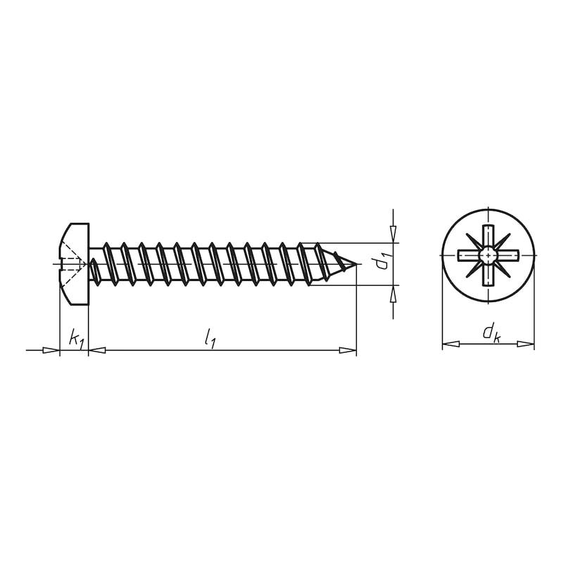 Linsen-Blechschraube Form C mit Kreuzschlitz Z - SHR-LIKPF-DIN7981-C-Z1-(A2K)-2,9X25