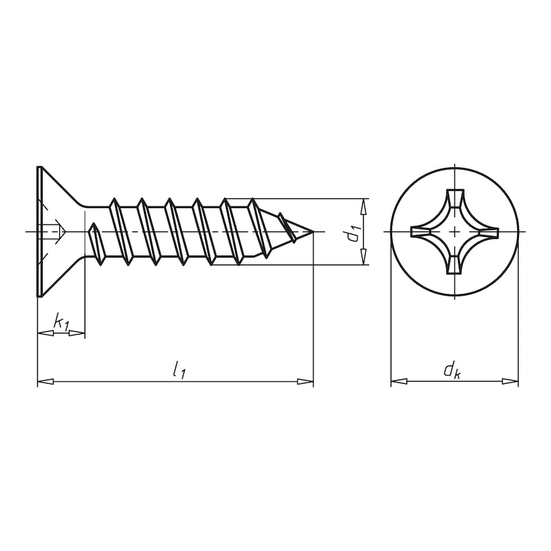 Countersunk tapping screw shape C with H recessed head - SCR-CS-DIN7982-C-H2-A4-4,2X38