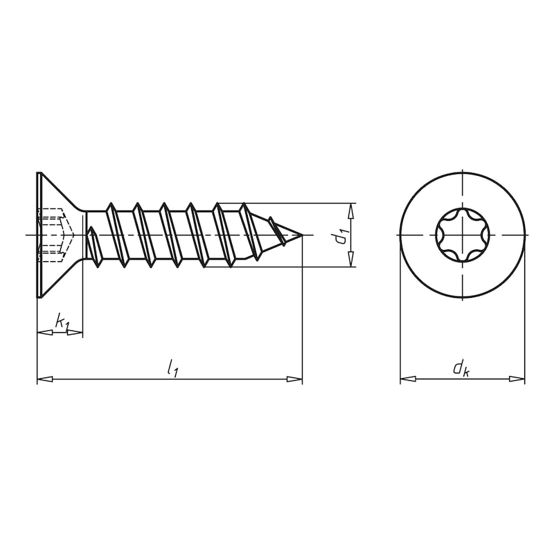 Senk-Blechschraube Form C mit AW-Antrieb - SHR-SEKPF-WN112-C-AW25-A2-4,8X19