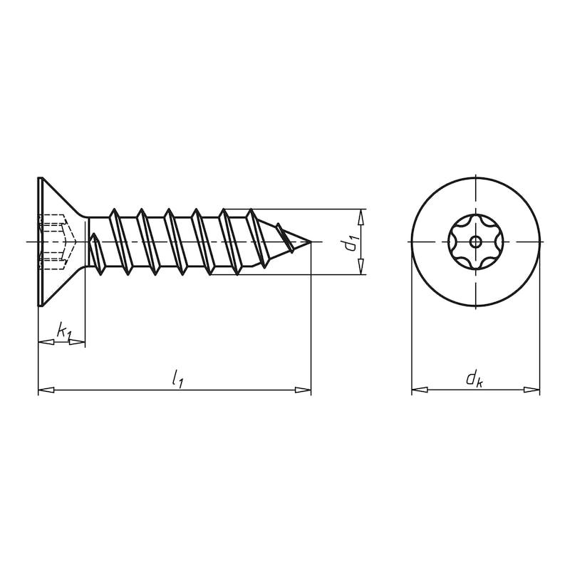 Senk-Blechschraube mit Innensechsrund und Sicherungspin - 2