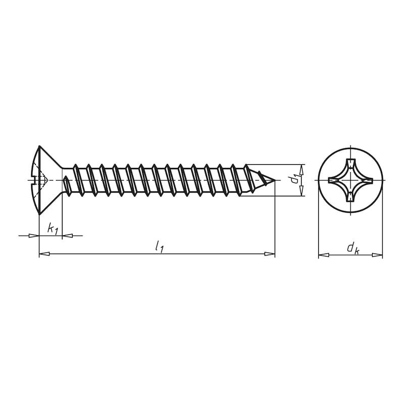 Linsensenk-Blechschraube Form C mit Kreuzschlitz H - SHR-LISEKPF-ISO7051-C-H2-(A2K)-3,5X19