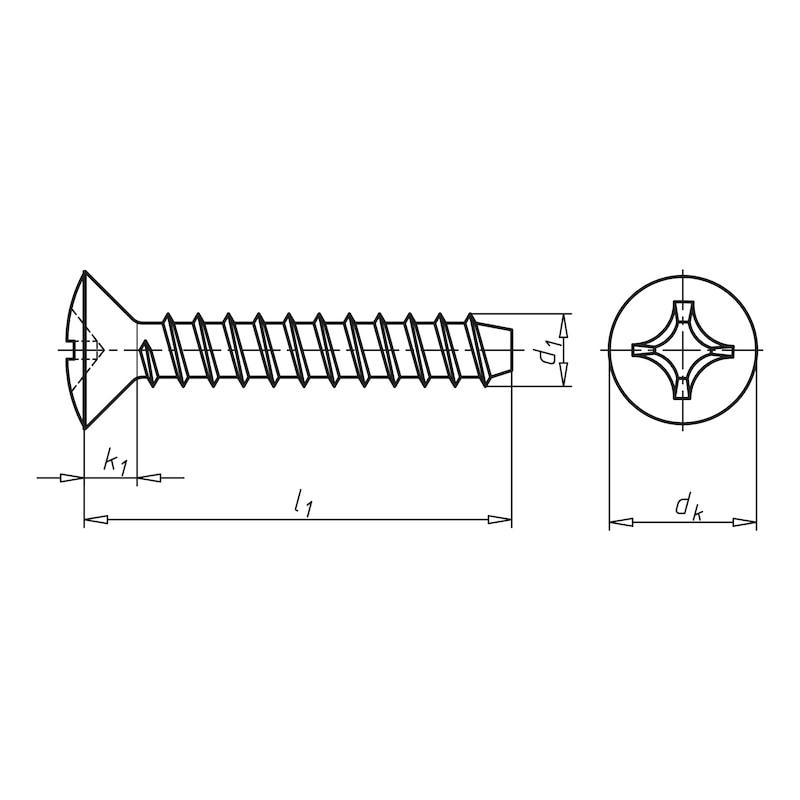 Linsensenk-Blechschraube Form F mit Kreuzschlitz H - 2